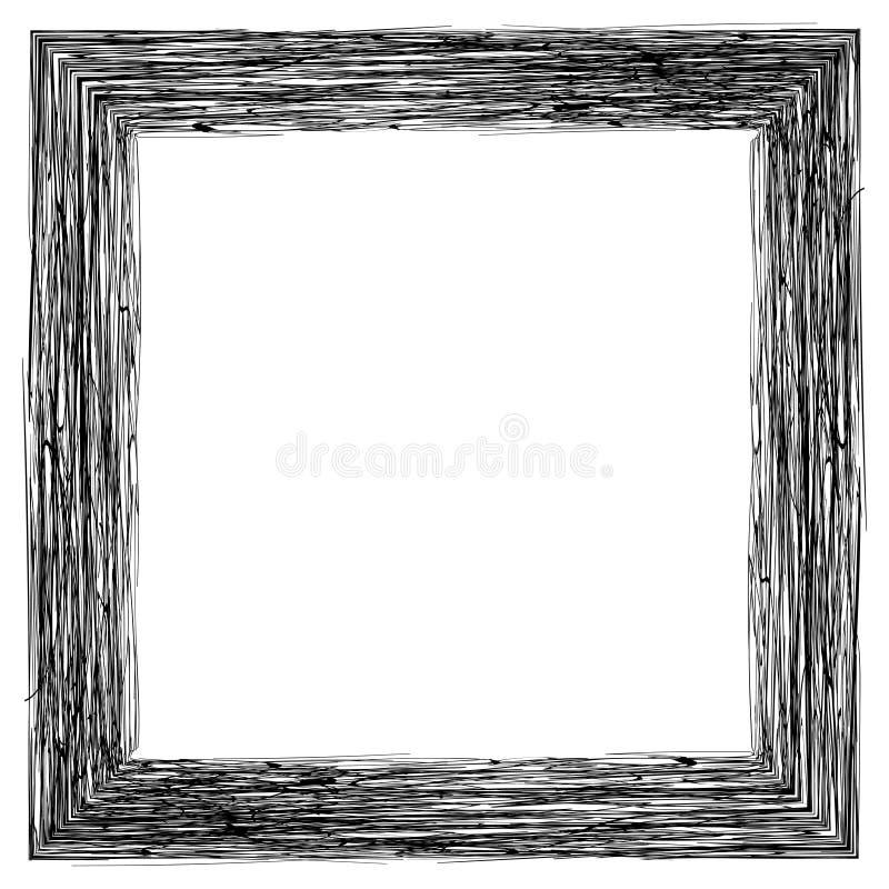 Το πλαίσιο για τις εικόνες φωτογραφιών, μολύβι που σκιάζει, διανυσματικό χέρι σύρει εκκολαμμένη την πλαίσιο χάραξη ελεύθερη απεικόνιση δικαιώματος