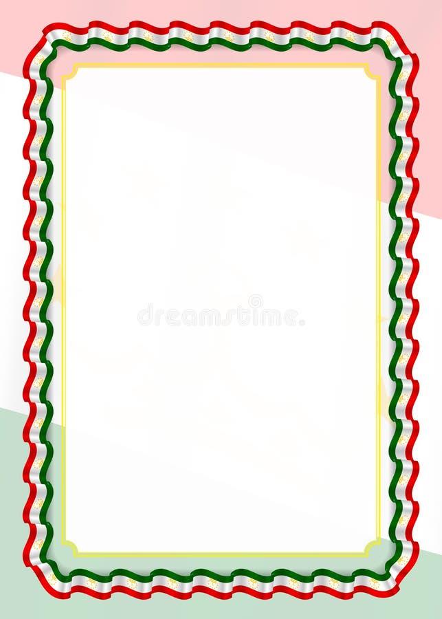 Το πλαίσιο και τα σύνορα της κορδέλλας με το Τατζικιστάν σημαιοστολίζουν, στοιχεία προτύπων για τη βεβαίωση και το δίπλωμά σας δι διανυσματική απεικόνιση