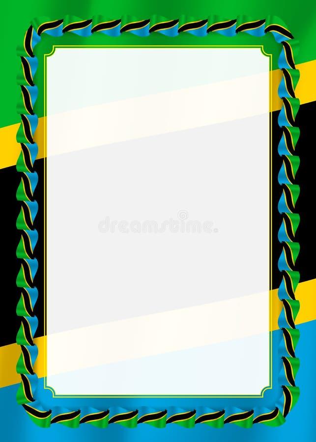 Το πλαίσιο και τα σύνορα της κορδέλλας με την Τανζανία σημαιοστολίζουν, στοιχεία προτύπων για τη βεβαίωση και το δίπλωμά σας διάν διανυσματική απεικόνιση
