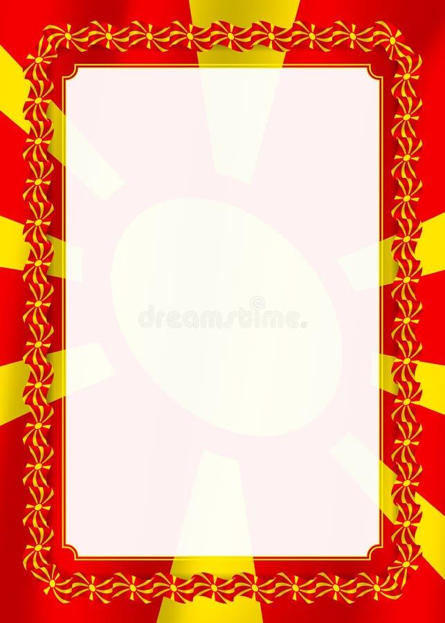 Το πλαίσιο και τα σύνορα της κορδέλλας με τη Μακεδονία σημαιοστολίζουν, στοιχεία προτύπων για τη βεβαίωση και το δίπλωμά σας διάν διανυσματική απεικόνιση