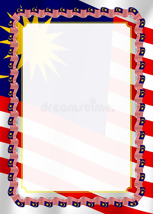 Το πλαίσιο και τα σύνορα της κορδέλλας με τη Μαλαισία σημαιοστολίζουν, στοιχεία προτύπων για τη βεβαίωση και το δίπλωμά σας διάνυ ελεύθερη απεικόνιση δικαιώματος