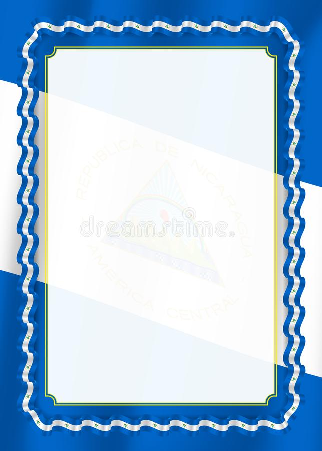 Το πλαίσιο και τα σύνορα της κορδέλλας με τη Νικαράγουα σημαιοστολίζουν, στοιχεία προτύπων για τη βεβαίωση και το δίπλωμά σας διά ελεύθερη απεικόνιση δικαιώματος