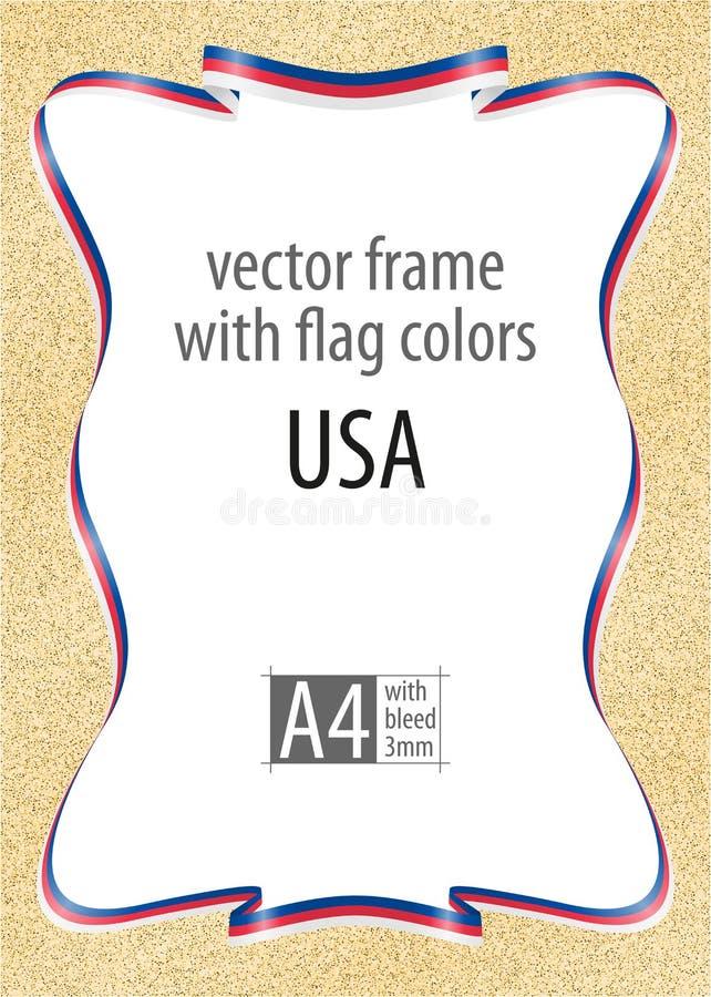 Το πλαίσιο και τα σύνορα της κορδέλλας με τα χρώματα των ΗΠΑ σημαιοστολίζουν, στοιχεία προτύπων για τη βεβαίωση και το δίπλωμά σα απεικόνιση αποθεμάτων