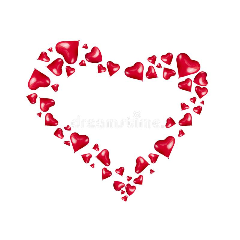 Το πλαίσιο καρδιών φιαγμένο από κόκκινες καρδιές διαμόρφωσε τα μπαλόνια στο άσπρο υπόβαθρο, που απομονώθηκε διανυσματική απεικόνιση
