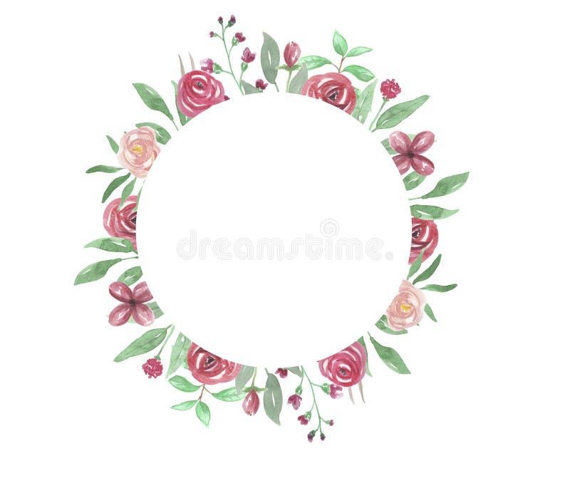 Το πλαίσιο κύκλων Watercolour κόκκινο αυξήθηκε χέρι γαμήλιων λουλουδιών πλαισίων που χρωματίστηκε απεικόνιση αποθεμάτων