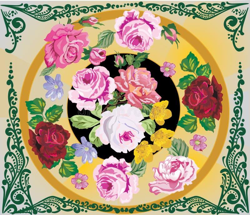 το πλαίσιο λουλουδιών & διανυσματική απεικόνιση