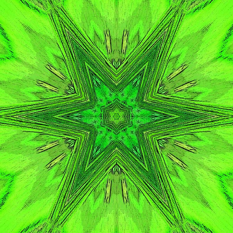 Το πλαίσιο Mandala και το λουλούδι της ζωής διαστίζουν ή εκτυπώνουν το πρότυπο, την ιερή γεωμετρία σε πράσινο και τον ασβέστη διανυσματική απεικόνιση