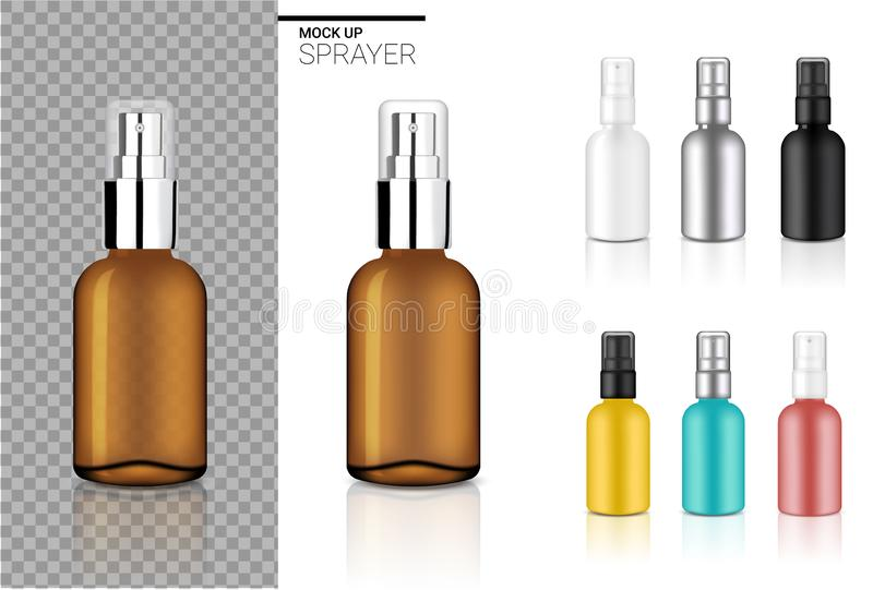 Το πλαστό επάνω ρεαλιστικό καλλυντικό καθορισμένο πρότυπο μπουκαλιών ψεκασμού με τη μαύρη, διαφανή Amber, ασήμι, αυξήθηκε χρυσό,  διανυσματική απεικόνιση