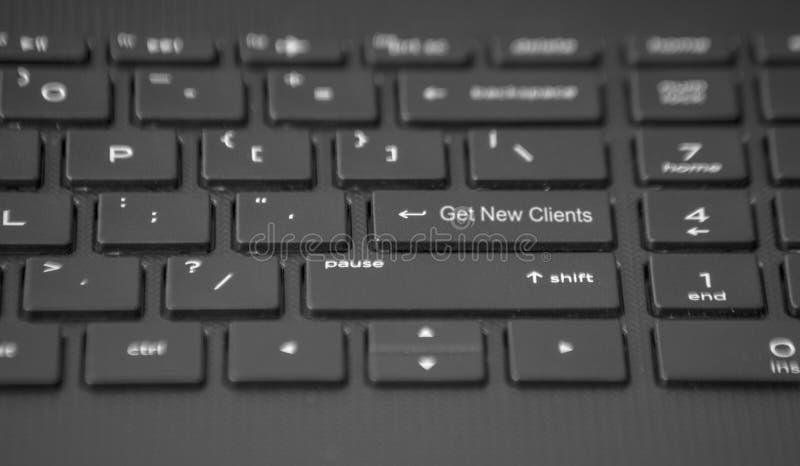 Το πληκτρολόγιο με παίρνει το νέο κλειδί πελατών στοκ εικόνα με δικαίωμα ελεύθερης χρήσης