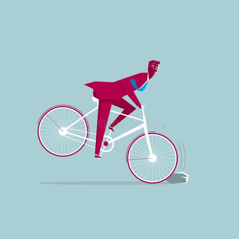 Το ποδήλατο έχει αντιμετωπίσει τα εμπόδια διανυσματική απεικόνιση