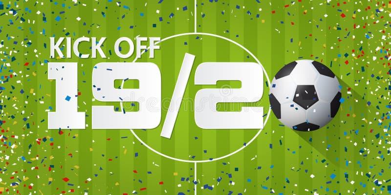 Το ποδόσφαιρο ή το ποδόσφαιρο κλωτσά από το έμβλημα με τη σφαίρα ποδοσφαίρου και το κομφετί εγγράφου στο υπόβαθρο γηπέδων ποδοσφα διανυσματική απεικόνιση