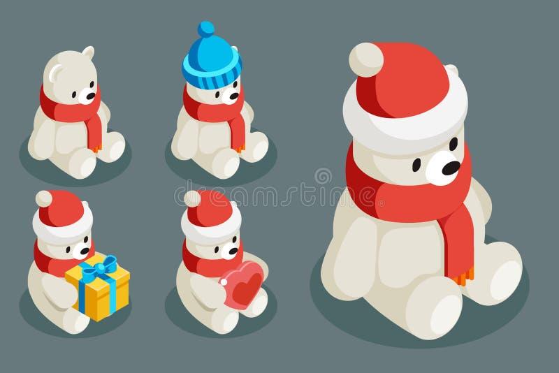 Το πολικό λευκό αντέχει τη isometric Χριστουγέννων ζωική χαρακτήρα διανυσματική απεικόνιση σχεδίου κινούμενων σχεδίων χειμερινού  απεικόνιση αποθεμάτων