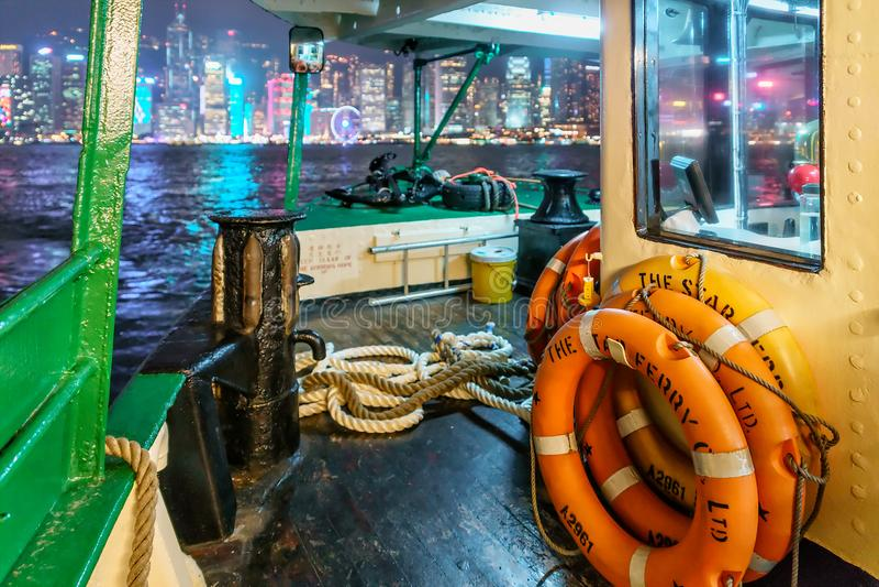 Το πορθμείο αστεριών είναι χειριστής υπηρεσιών πορθμείων επιβατών και ένα τουριστικό αξιοθέατο στο Χονγκ Κονγκ στοκ εικόνα