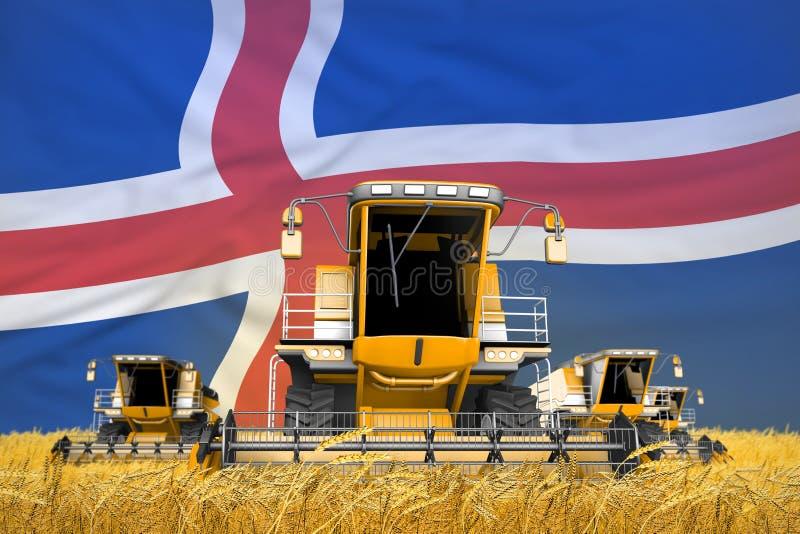 το πορτοκάλι 4 συνδυάζει τις θεριστικές μηχανές στον τομέα σίτου με το υπόβαθρο σημαιών, έννοια γεωργίας της Ισλανδίας - βιομηχαν απεικόνιση αποθεμάτων