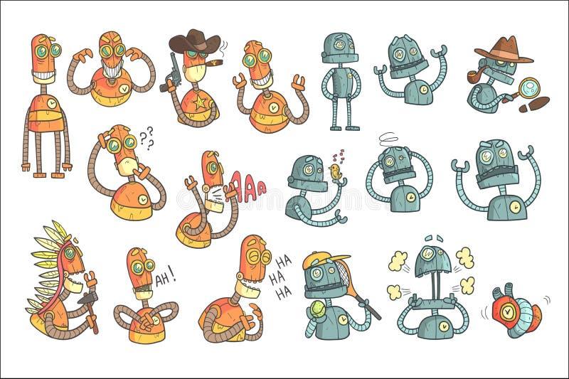 Το πορτοκαλί σύνολο ρομπότ κινούμενων σχεδίων περιγράφει τα πορτρέτα απεικόνιση αποθεμάτων