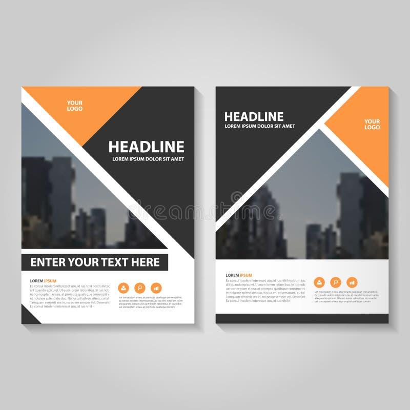 Το πορτοκαλί διανυσματικό σχέδιο προτύπων ιπτάμενων φυλλάδιων φυλλάδιων ετήσια εκθέσεων, σχέδιο σχεδιαγράμματος κάλυψης βιβλίων,  ελεύθερη απεικόνιση δικαιώματος
