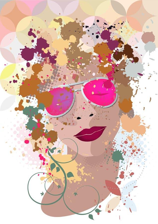 Το πορτρέτο γυναικών στο σχεδιάγραμμα με τους λεκέδες ελεύθερη απεικόνιση δικαιώματος