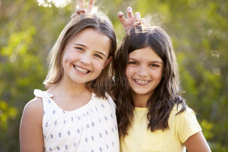 Το πορτρέτο δύο χαμογελώντας νέων κοριτσιών έχει την τοποθέτηση στη κάμερα στοκ φωτογραφίες
