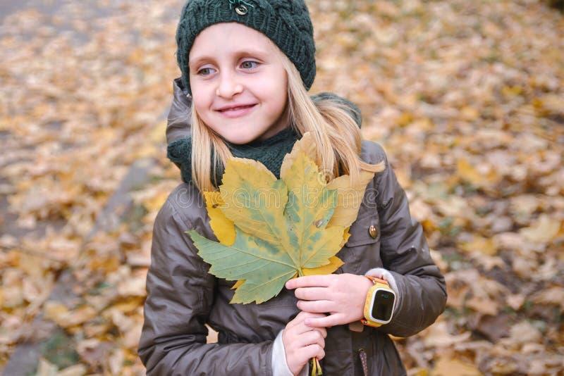 Το πορτρέτο ενός μικρού κοριτσιού με μια ανθοδέσμη του φθινοπώρου φεύγει agains στοκ φωτογραφία