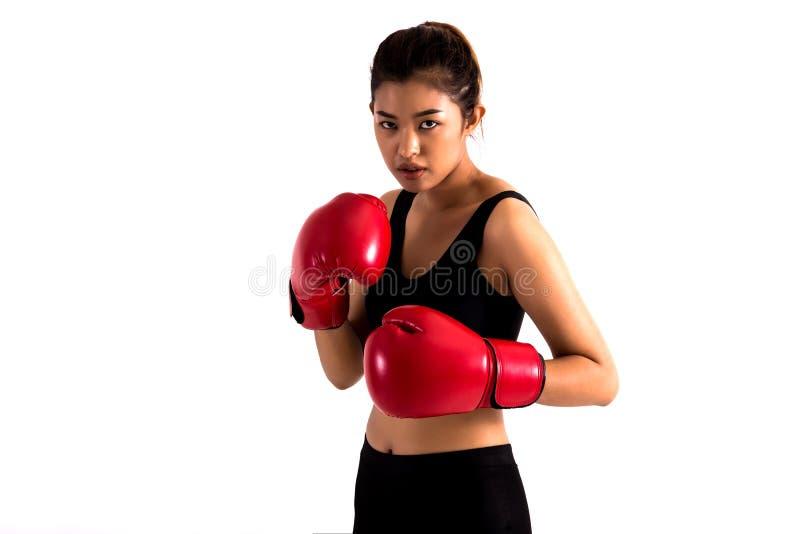 Το πορτρέτο ενός νέου θηλυκού μπόξερ σε μια θέση πάλης στο λευκό απομόνωσε το υπόβαθρο στοκ εικόνα