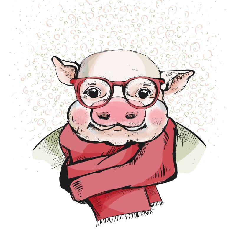 Το πορτρέτο ενός χαριτωμένου χοιριδίου στα γυαλιά διανυσματική απεικόνιση
