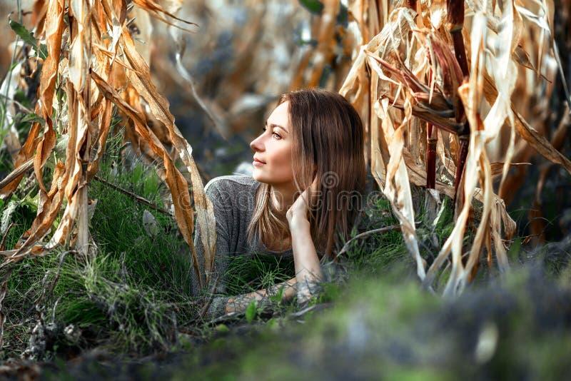 Το πορτρέτο μιας γυναίκας, του brunette που βρίσκεται στο έδαφος στο σάπιο καλαμπόκι και της βεραμάν χλόης πλαισίωσε το θερμό φωτ στοκ φωτογραφίες