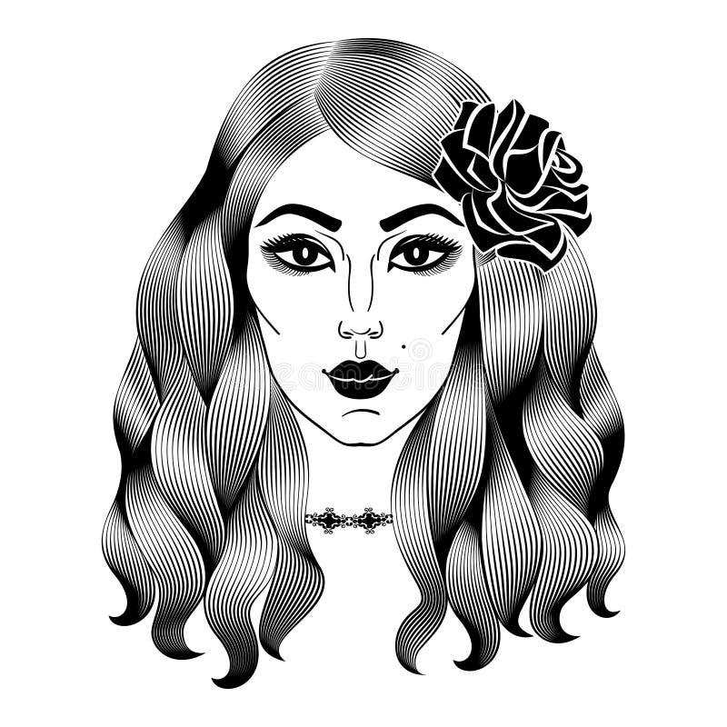 Το πορτρέτο της νέας όμορφης γυναίκας με αυξήθηκε Ισπανικό κορίτσι προσώπου διανυσματική απεικόνιση