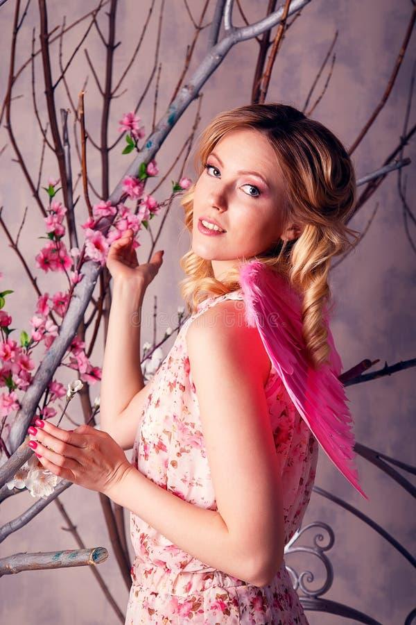 Το πορτρέτο της νέας όμορφης γυναίκας στο κοστούμι αγγέλου με το ροζ κερδίζει στοκ φωτογραφίες με δικαίωμα ελεύθερης χρήσης