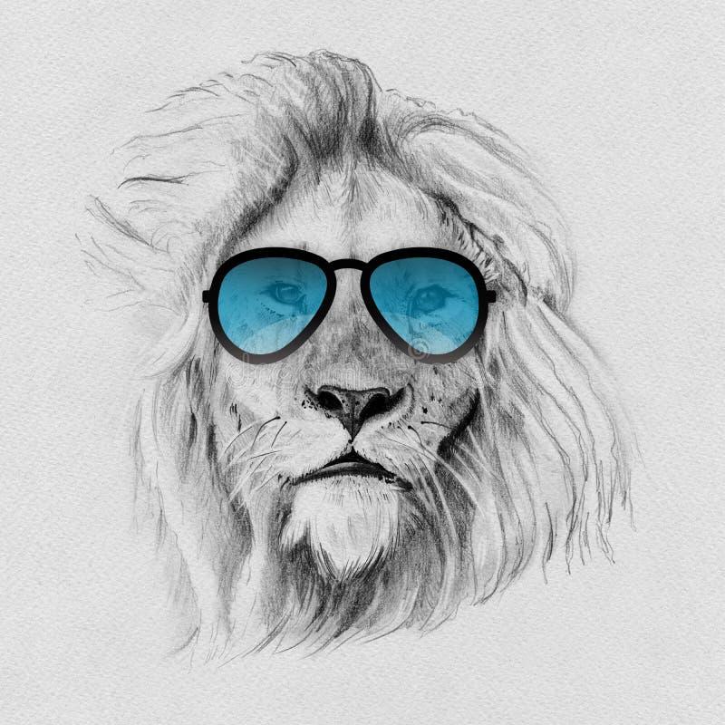 Το πορτρέτο του λιονταριού που σύρεται κοντά παραδίδει το μολύβι στα γυαλιά ηλίου ελεύθερη απεικόνιση δικαιώματος