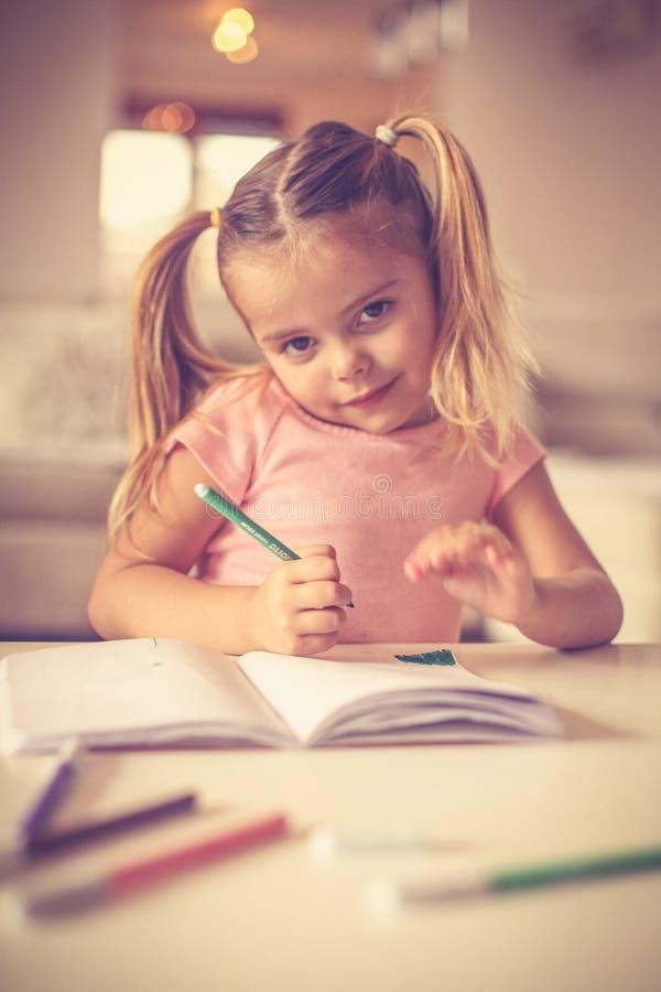 Το πορτρέτο του μικρού κοριτσιού σύρει, εξετάζοντας τη κάμερα στοκ εικόνες