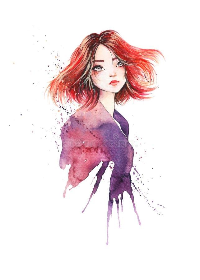 Το πορτρέτο του όμορφου redhead κοριτσιού με μελαγχολικό έναν ονειροπόλο κοιτάζει διανυσματική απεικόνιση