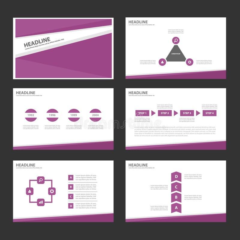 Το πορφυρό επίπεδο σχέδιο προτύπων παρουσίασης εικονιδίων στοιχείων Infographic έθεσε για τη διαφήμιση του ιπτάμενου φυλλάδιων μά διανυσματική απεικόνιση