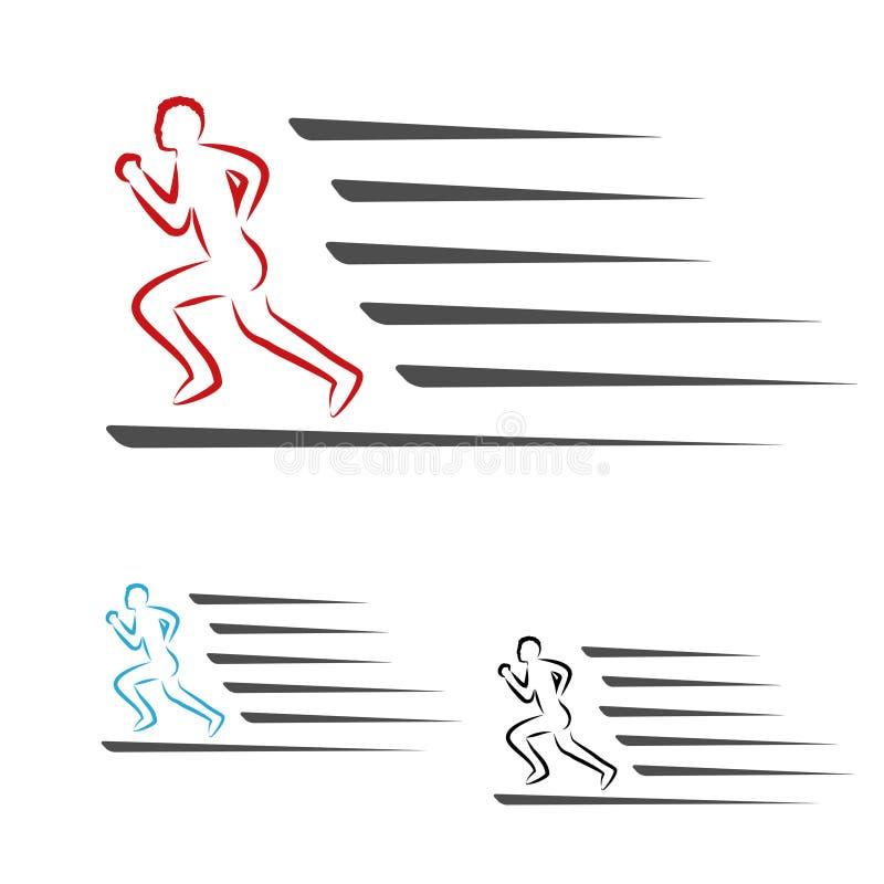Το ποσοστό συμβόλων συσκευασίας παράδοσης ή το εικονίδιο ταχύτητας μεταφορτώνει και φορτώνει, σύμβολο του τρέχοντας ατόμου, δρομέ ελεύθερη απεικόνιση δικαιώματος