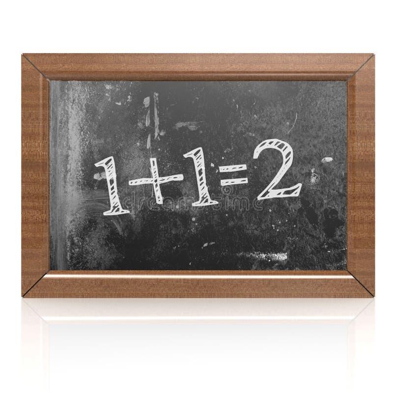 Το ποσό ένα συν ένα δύο που γράφονται είναι ίσο με στον πίνακα διανυσματική απεικόνιση