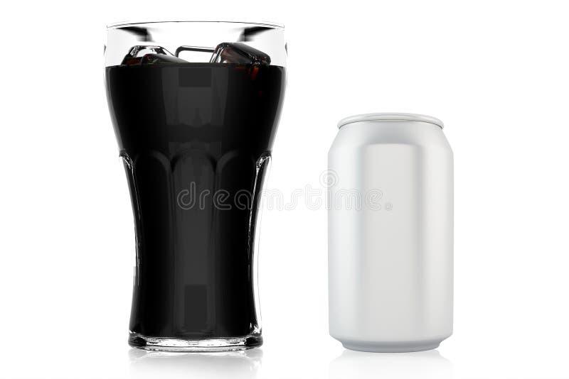 Το ποτήρι της κόλας με τον πάγο και μπορεί στοκ εικόνα με δικαίωμα ελεύθερης χρήσης