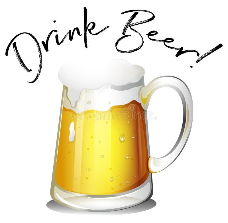 Το ποτήρι της μπύρας με τη φράση πίνει την μπύρα διανυσματική απεικόνιση
