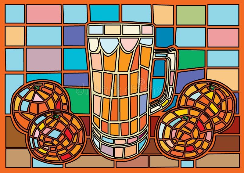 Το ποτήρι του χυμού από πορτοκάλι Μωυσής λεκίασε το γυαλί ελεύθερη απεικόνιση δικαιώματος