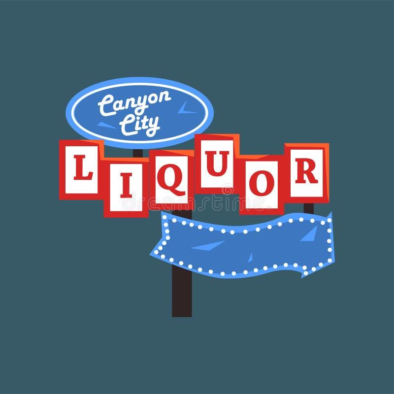 Το ποτό, αναδρομική πινακίδα οδών πόλεων φαραγγιών, τρύγος καθοδηγεί με τα φω'τα τη διανυσματική απεικόνιση απεικόνιση αποθεμάτων