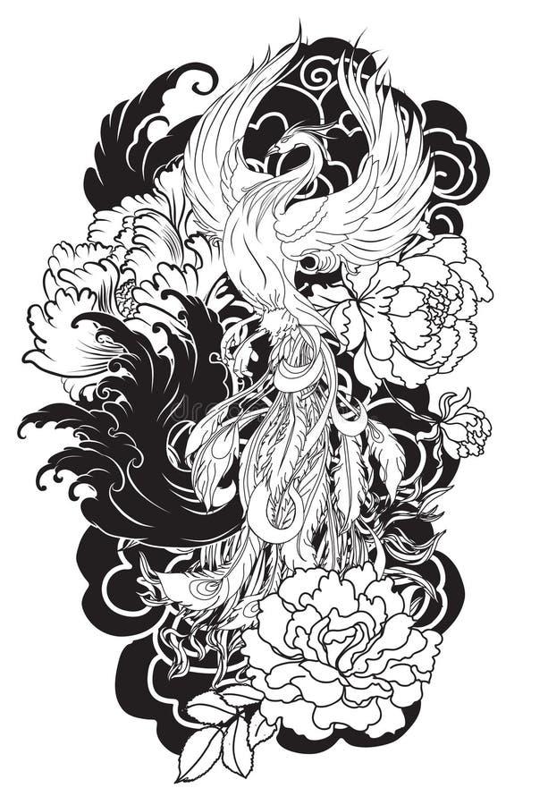 Το πουλί πυρκαγιάς του Phoenix με το λουλούδι Peony και αυξήθηκε στο σύννεφο και το υπόβαθρο κυμάτων Συρμένο χέρι ιαπωνικό ύφος δ απεικόνιση αποθεμάτων