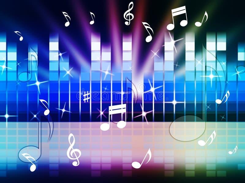 Το πολύχρωμο υπόβαθρο μουσικής παρουσιάζει ότι το παιχνίδι συντονίζει ή μέταλλο απεικόνιση αποθεμάτων