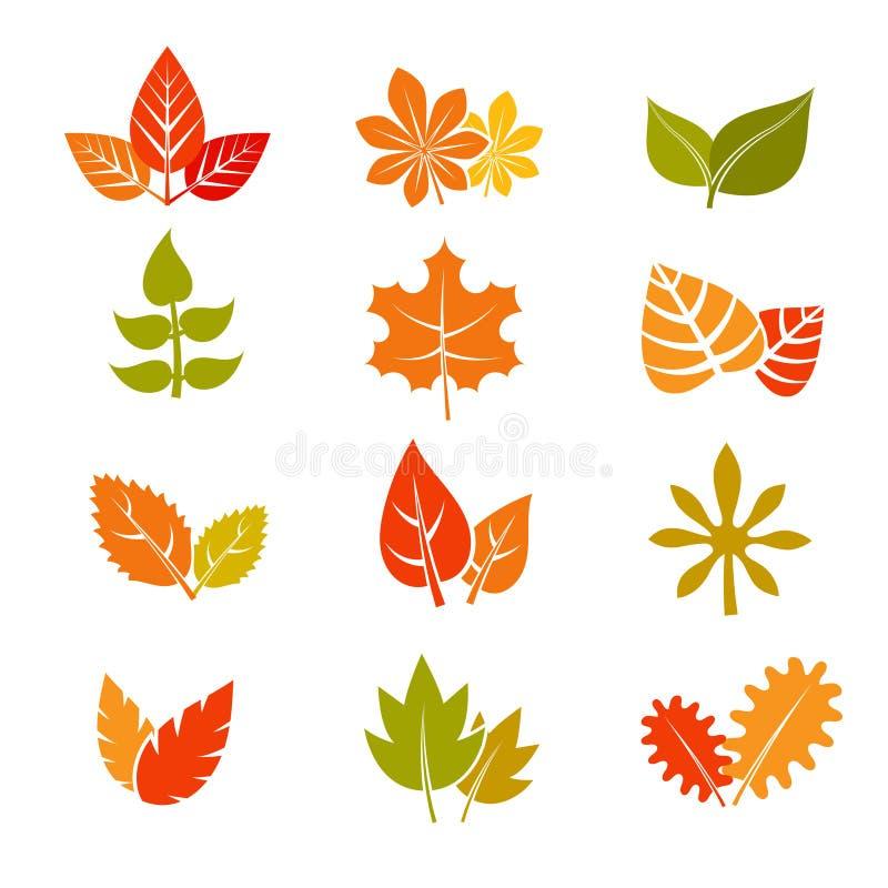 Το πολύχρωμο φθινόπωρο αφήνει τα επίπεδα διανυσματικά εικονίδια Συλλογή φύλλων πτώσης feuille διανυσματική απεικόνιση