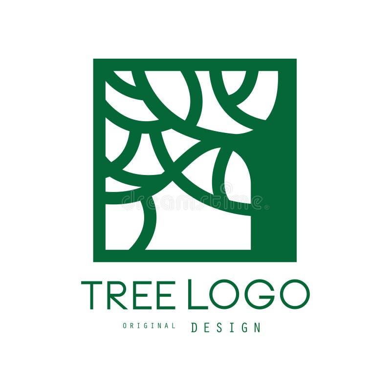 Το πράσινο αρχικό σχέδιο λογότυπων δέντρων, πράσινο τετραγωνικό διακριτικό eco, αφαιρεί την οργανική διανυσματική απεικόνιση στοι απεικόνιση αποθεμάτων