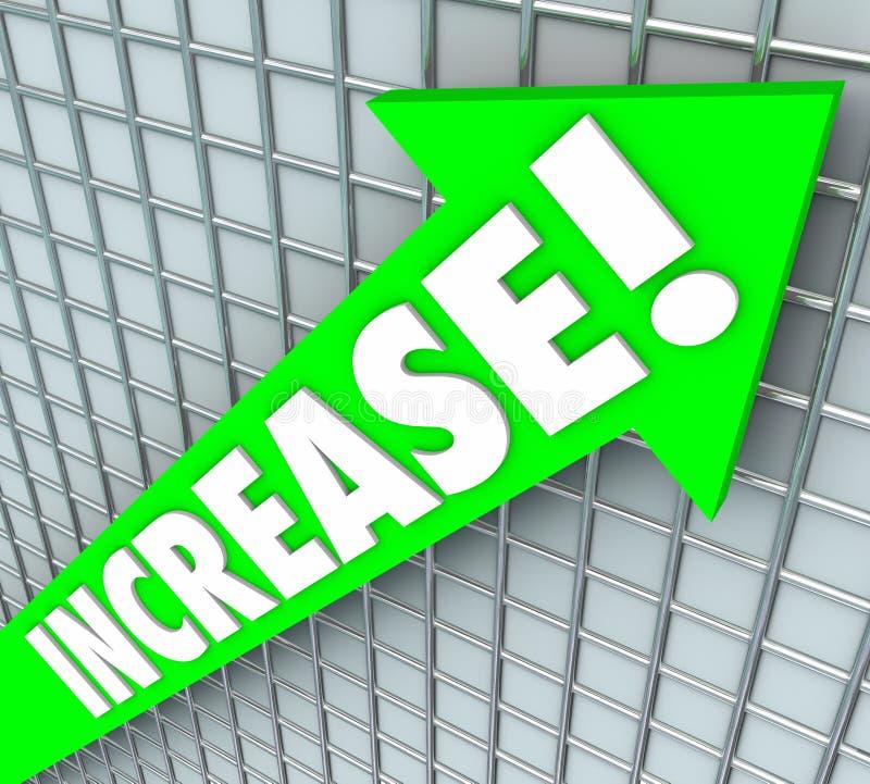 Το πράσινο βέλος του Word αύξησης που αυξάνεται επάνω στη βελτίωση περισσότεροι οδηγεί διανυσματική απεικόνιση