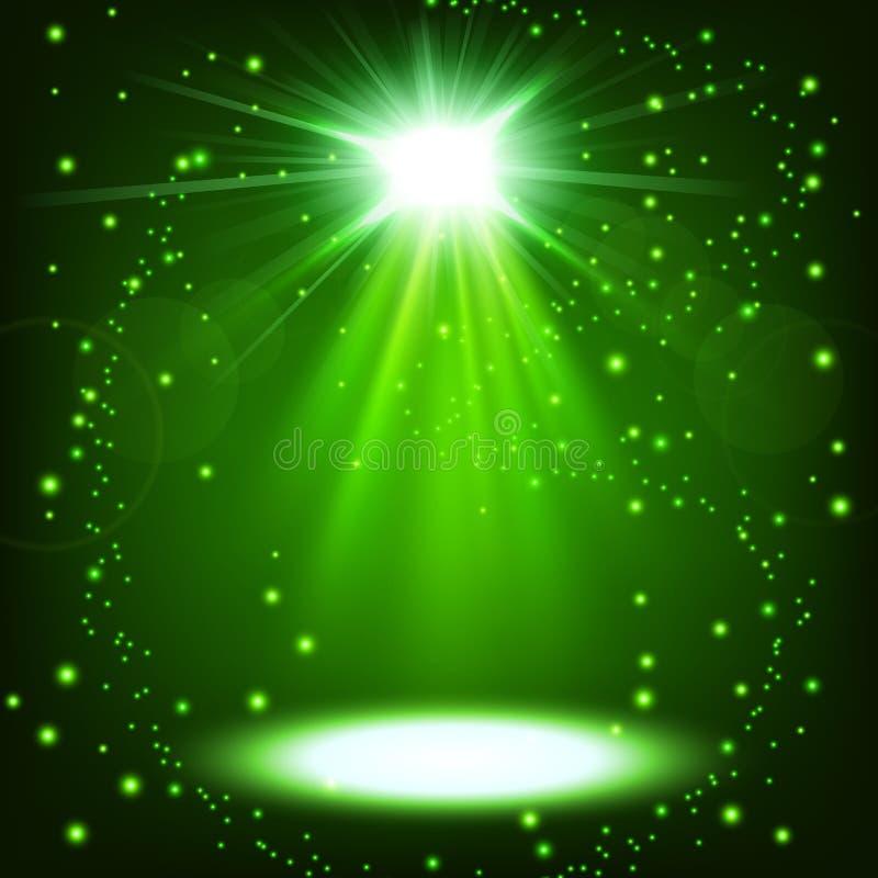 Το πράσινο επίκεντρο που λάμπει με ψεκάζει να επιπλεύσει απεικόνιση αποθεμάτων