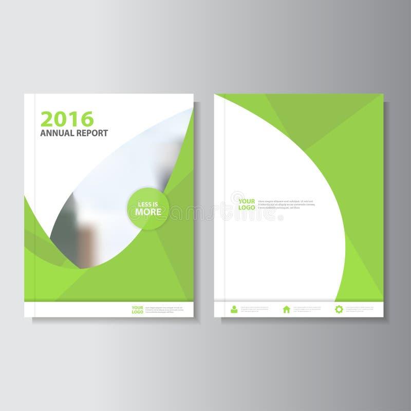 Το πράσινο διανυσματικό σχέδιο προτύπων ιπτάμενων φυλλάδιων φυλλάδιων ετήσια εκθέσεων Eco, σχέδιο σχεδιαγράμματος κάλυψης βιβλίων απεικόνιση αποθεμάτων
