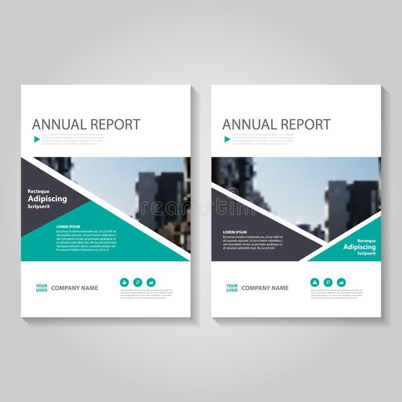 Το πράσινο διανυσματικό σχέδιο προτύπων ιπτάμενων φυλλάδιων φυλλάδιων ετήσια εκθέσεων, σχέδιο σχεδιαγράμματος κάλυψης βιβλίων, αφ διανυσματική απεικόνιση