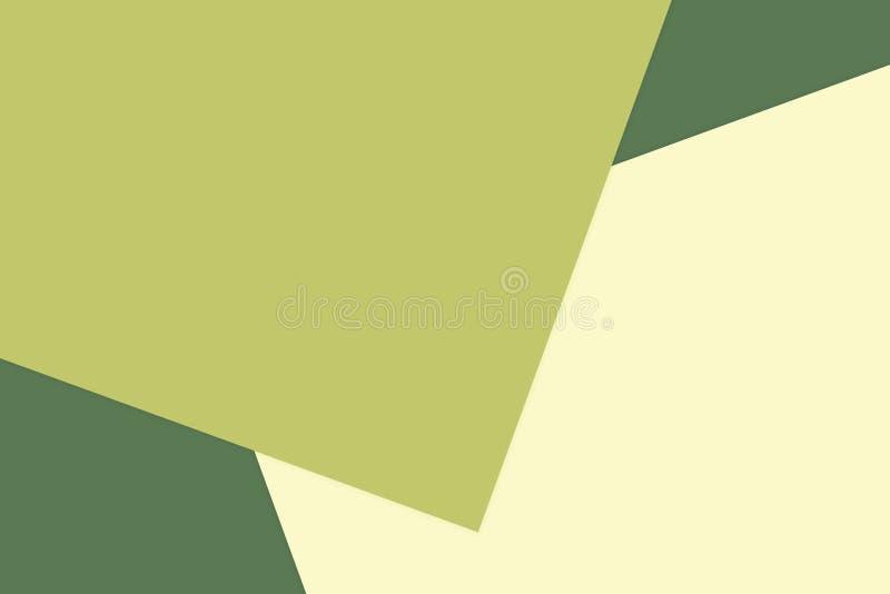 Το πράσινο κίτρινο ζωηρόχρωμο μαλακό υπόβαθρο κρητιδογραφιών εγγράφου, ελάχιστο επίπεδο βάζει το ύφος για τη μοντέρνη τοπ άποψη χ διανυσματική απεικόνιση