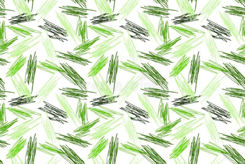 Το πράσινο μολύβι κτυπά το άνευ ραφής σχέδιο απεικόνιση αποθεμάτων