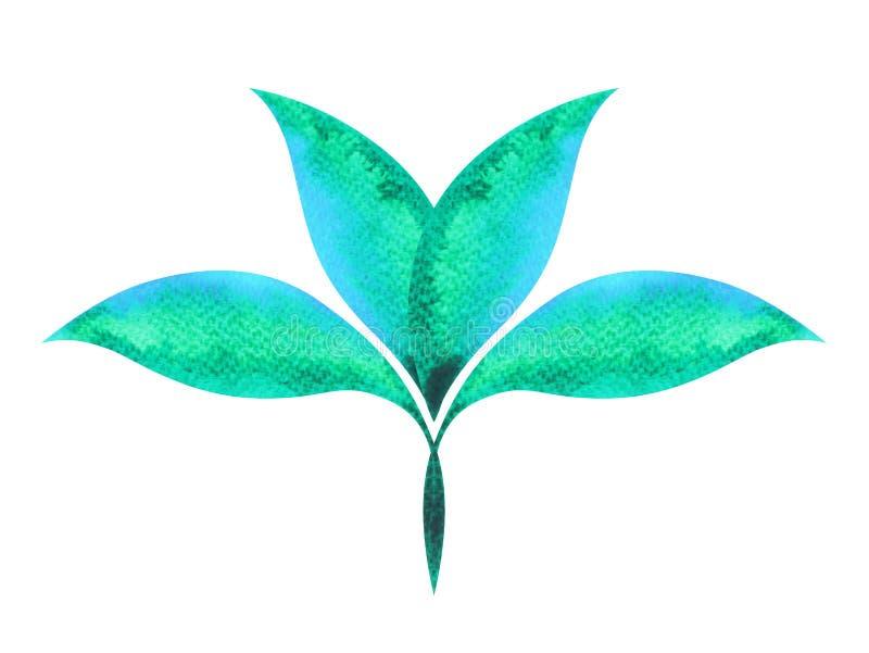 Το πράσινο, μπλε χρώμα της έννοιας συμβόλων chakra, ανθίζει το floral φύλλο ελεύθερη απεικόνιση δικαιώματος