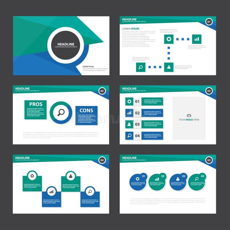 Το πράσινο μπλε αφηρημένο επίπεδο σχέδιο στοιχείων Infographic προτύπων παρουσίασης έθεσε για το μάρκετινγκ φυλλάδιων ιπτάμενων φ απεικόνιση αποθεμάτων